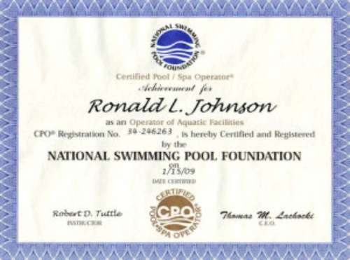 our certifications ron don's pool service palm harbor florida